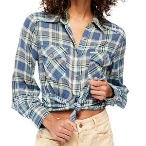 NEW Free People First Bloom Plaid Tie Bottom Top
